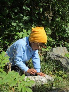 Ein Kind, das einen größeren Stein im Wald untersucht